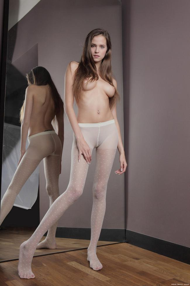 Small Woman Modeling Her Nylon And Naked 1